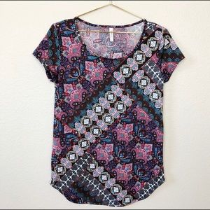 HONEY & LACE Mixed paisley & floral print top